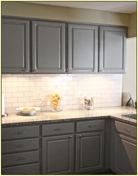 Backsplash With White Cabinets And Grey Countertop by Gray Cabinets White Subway Tile Backsplash Kitchen