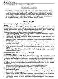 resume for production company manufacturing executive resume exle