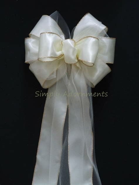 10 ivory satin tulle wedding pew bows church aisles