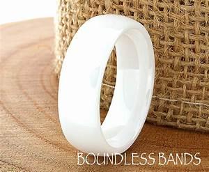 Ceramic wedding ring mens wedding band white ceramic band for Ceramic mens wedding rings