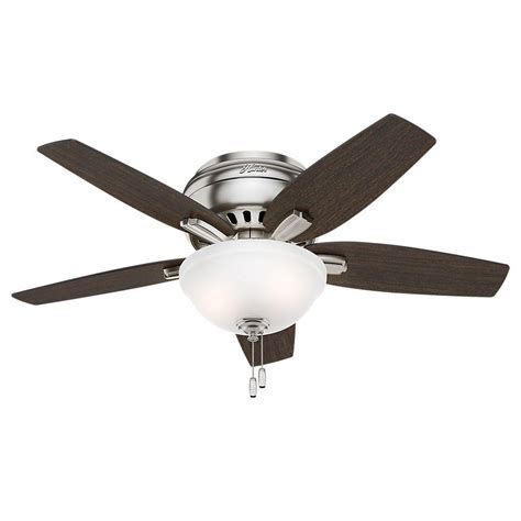hunter low profile ceiling fan with light hunter newsome 42 in indoor low profile brushed nickel