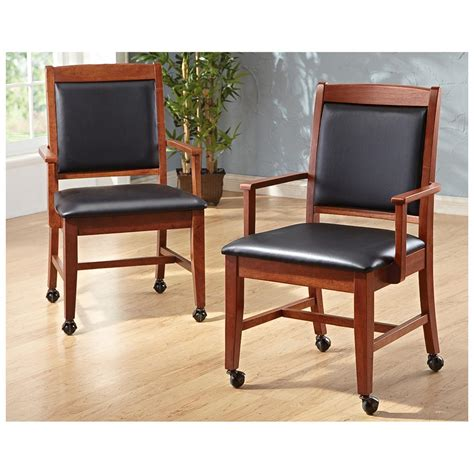 2 pk of caster chairs cherry 231902 kitchen