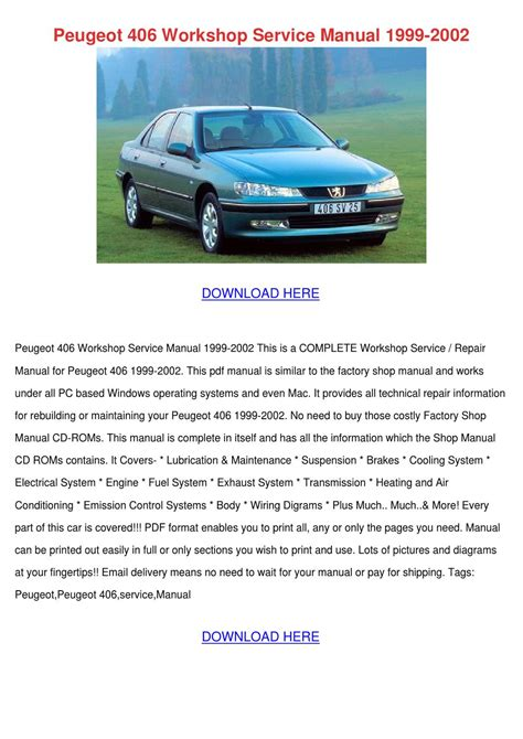 peugeot 406 workshop service manual 1999 2002 by yvonnetaber issuu