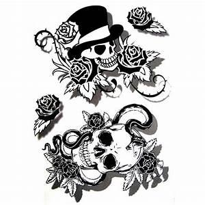 Dessin Tete De Mort Avec Rose : tatouage temporaire crane tete de mort ~ Melissatoandfro.com Idées de Décoration