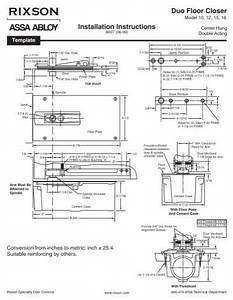 Rixson Duo Floor Closer Installation Instructions