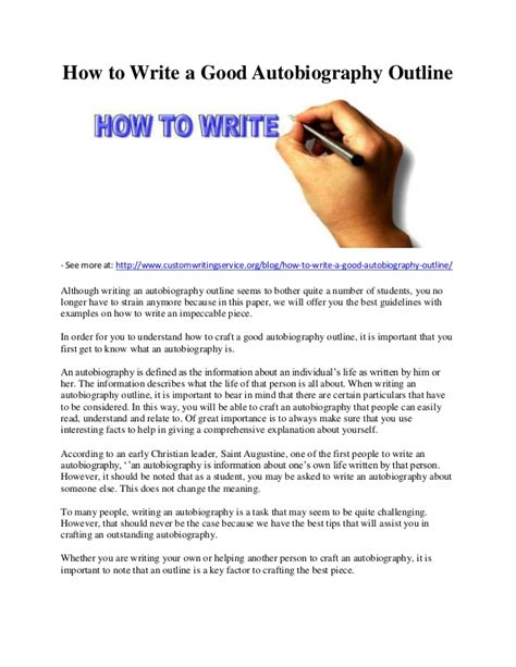 How To Write A by How To Write A Autobiography Outline