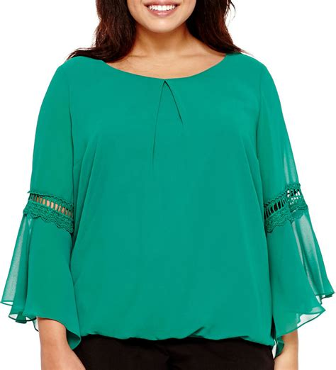jcpenney plus size blouses jcpenney by and by by by bell sleeve chiffon blouse plus