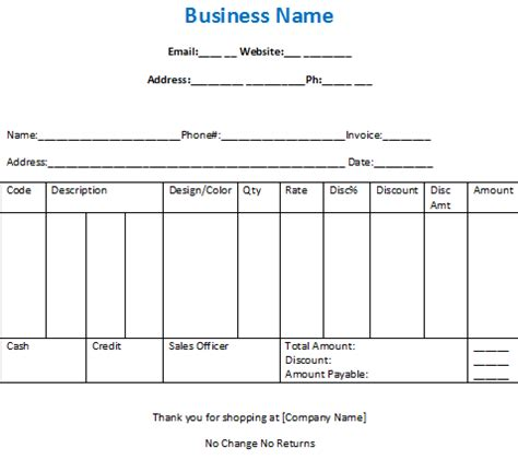 garage invoice template sample bill for clothing shop in excel and word free download