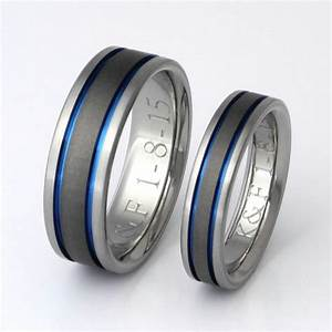 titanium wedding band set thin blue line rings his and With blue line wedding rings