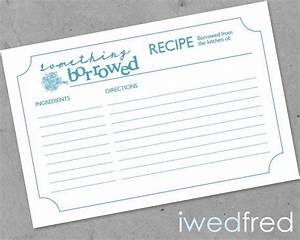 instant download something borrowed printable bridal With bridal shower recipe cards templates