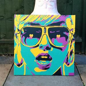 Pop art woman paintingcanvasstencil artspray paint