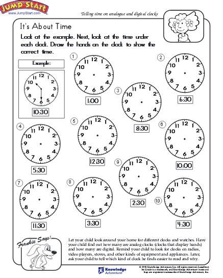 telling time worksheet education world