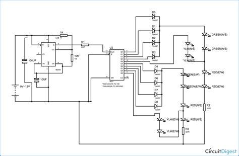 Timer Based Four Way Traffic Light Circuit Diagram