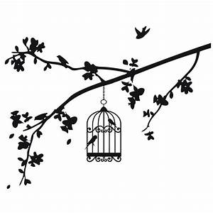 black and white drawings of bird, birdcage and branches ...
