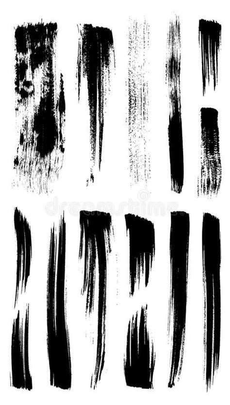 Collection of illustrator stroke brushes. Vector outline