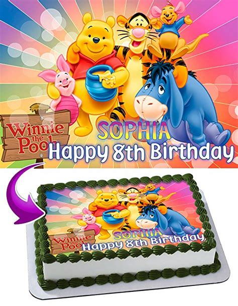 Personalized Birthday Cake Images Winnie The Pooh Cake Image Personalized Topper Edible