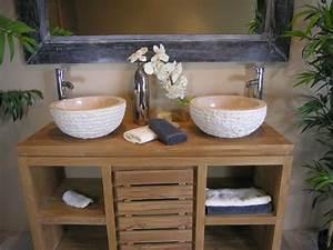 salle de bain zen avec des couleurs decoratives With meuble salle de bain zen