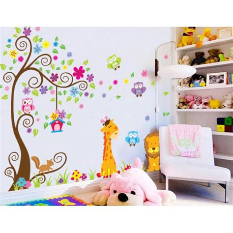 stickers girafe chambre bébé sticker géant arbre fleurs girafe et stickers