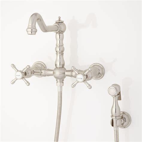 delilah wall mount faucet  side spray cross handles wall mount faucets kitchen faucets
