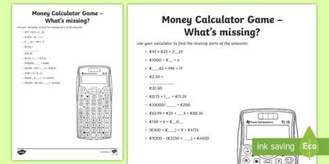 money calculator what s missing worksheet worksheet money measures