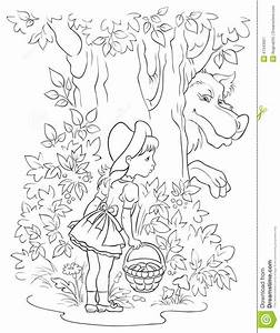 red riding hood coloring pages - little red riding hood and wolf colouring page stock