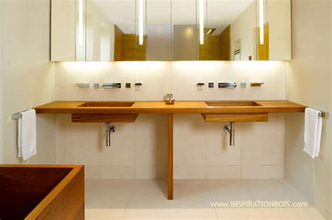 plan vasque bois salle de bain carrelage salle de bain