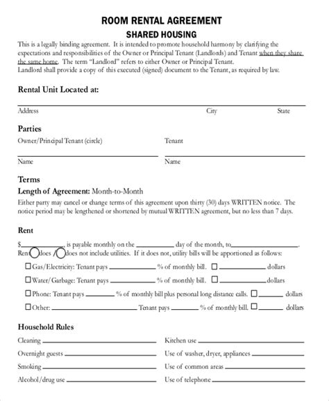 room rental agreement templates  downloadable