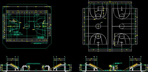 basketball courts  autocad  cad