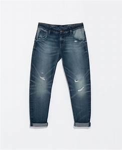 Zara Washedeffect Boyfriend Jeans with Rips in Blue (Indigo) | Lyst