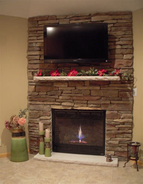 Ideas Stone Fireplace With Beautiful Mantel Decorating