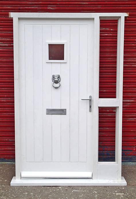 Hardwood Doors by Wooden Cottage Style Door With Sidelight Hardwood Made