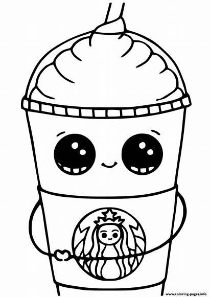 Coloring Kawaii Starbucks Cups Printable Unicorn Frappuccino