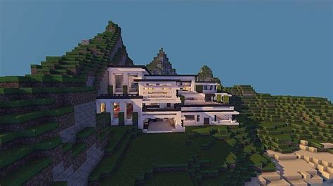 modern mansion cliff side escape minecraft building