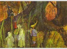 Postcard elves and dwarves in the forest