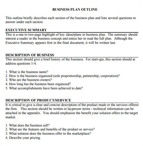 Basic Business Plan Template by Free 12 Sle Business Plan Outline Templates In