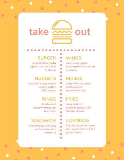 Free Take Out Menu Templates by Customize 24 Take Out Menu Templates Canva