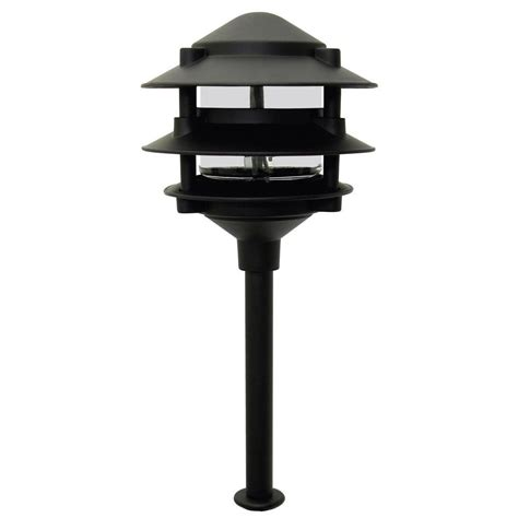 low voltage landscape light bulbs moonrays pagoda style 3 tier low voltage 11 watt black