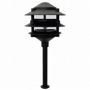 Moonrays low voltage watt pagoda style black outdoor