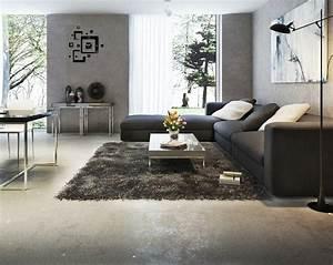 Wohnzimmer Teppich Grau : modernes wohnzimmer mit dunklem sofa einrichten 55 ideen ~ Whattoseeinmadrid.com Haus und Dekorationen