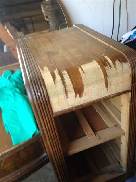 Hometalk   Staining a Wooden 1942 Vanity Table Back to Life