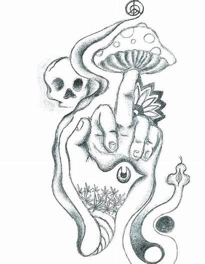 Coloring Pages Printable Mushroom Stoner Tattoo Skull