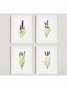 lavender art print set 4 green purple lavender watercolor With what kind of paint to use on kitchen cabinets for fine wall art prints