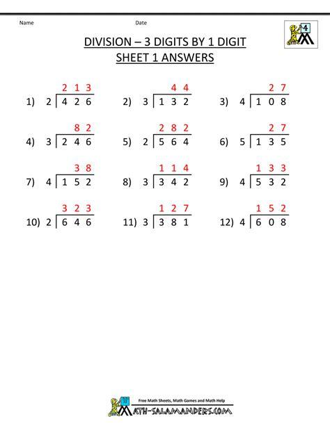 dividing 3 digit numbers math worksheets dividing best