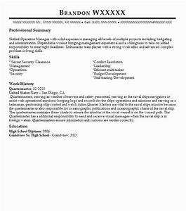 Navy Logistics Specialist Resume Quartermaster Officer Resume Example Us Army Hinesville