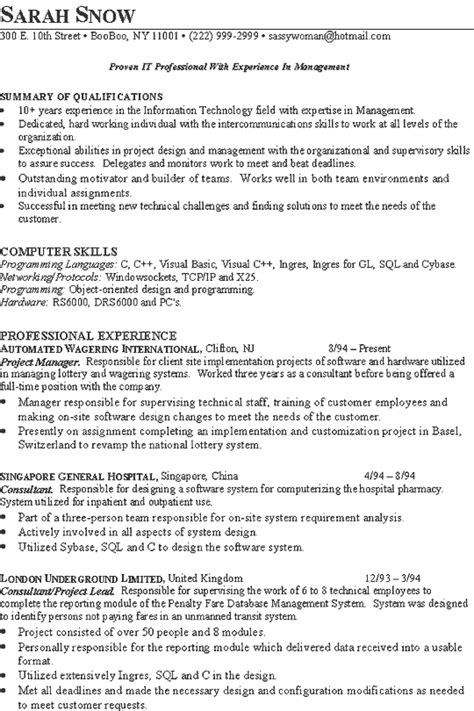 Implementation Consultant Resume by It Consultant Resume Exles Sle Resume
