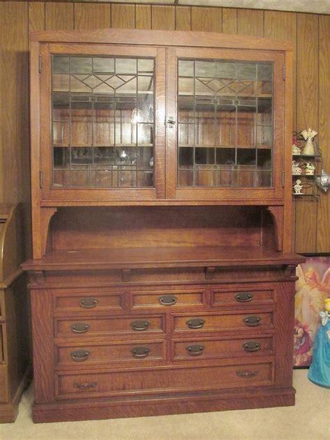 antique tiger oak leaded glass sideboard hutch