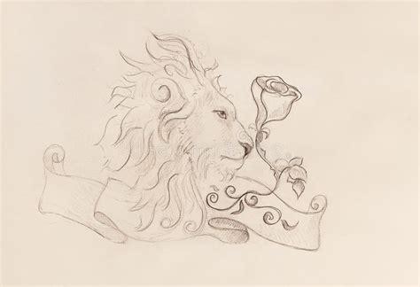 lion  rose  ribbon  ornament original drawing