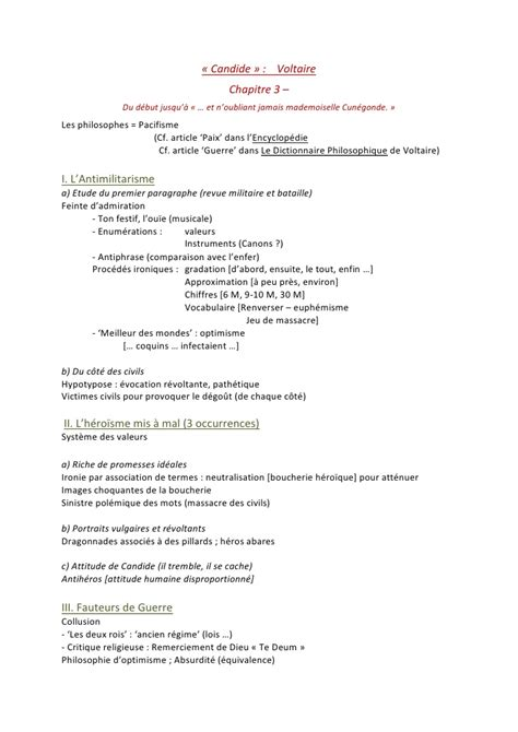 Candide Voltaire Resume Chapitre 1 by Candide Chapitre 3
