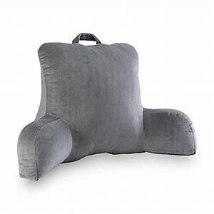 Velour gray bedrest reading posture arm pillow soft back for Best soft bed pillows