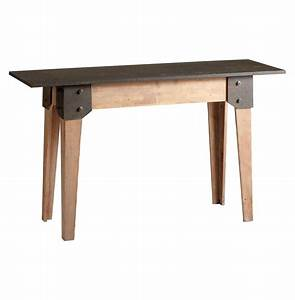 Masa Wood Raw Steel Rustic Console Table Kathy Kuo Home